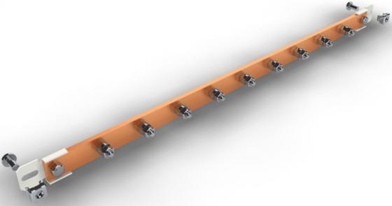 Шина заземления медная 19, горизонтальная, серая, 9 подключений, NT GB-09 G