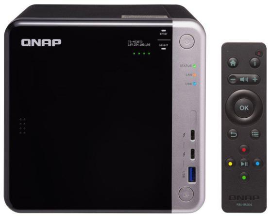 Фото - Сетевое хранилище QNAP TS-453BT3-8G Сетевой RAID-накопитель, 4 отсека для HDD, 2 HDMI-порта, 1 порт 10 GbE BASE-T, 2 порта Thunderbolt 3. Intel Celero сетевое хранилище qnap ts 431x2 8g сетевой raid накопитель 4 отсека для hdd 10 gbe sfp arm cortex a15 annapurna labs al 314 1 7 ггц 8 гб