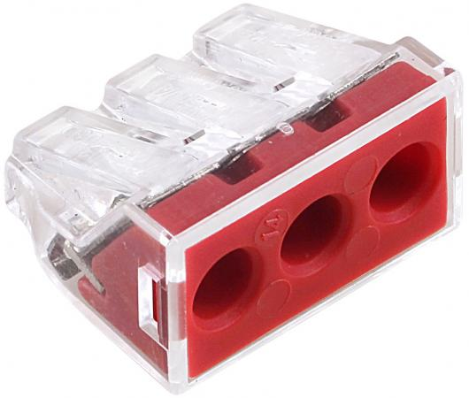 Wago 773-173 Клемма 3-проводная (2.5-6.0 кв.мм) красная 50pcs wago 773 104 push wire wiring connector for junction 4 pin conductor terminal block