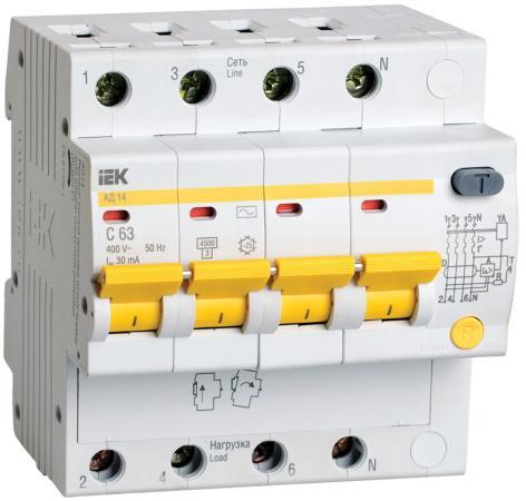 Iek MAD10-4-025-C-030 Диф.автомат АД14 4Р 25А 30мА ИЭК выключатель автоматический дифференциального тока иэк 2п 25а 30ма ад 12 mad10 2 025 c 030
