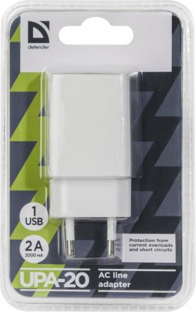 Сетевое зарядное устройство Defender UPA-20 2А белый 83528 сетевое зарядное устройство defender upa 40 5а 4 x usb черный