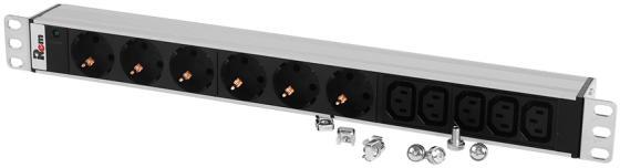 ЦМО Блок розеток Rem-10 без шнура с инд., 6 Schuko, 5 IEC 60320 C13, вход IEC 60320 C14, 10A, алюм., 19 (R-10-6S-5C13-I-440-Z)
