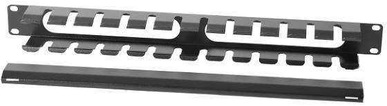 ЦМО Органайзер кабельный горизонтальный 19 1U с крышкой, цвет чёрный (ГКЗ-1U-9005) кабельный органайзер горизонтальный цмо сб 9005 односторонний кольца 1u шир 19 глуб 93мм