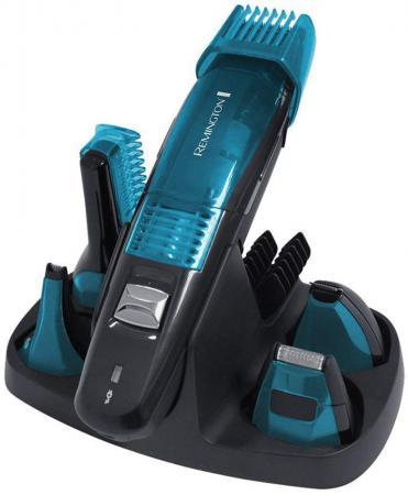 Машинка для стрижки Remington PG6070, набор, аккум. 60 мин, 5 насадок, 7 установок длинны (0.4-16мм), триммер д/носа и ушей, футляр, черный/синий триммер для носа и ушей wahl deluxe lighted чёрный серебристый