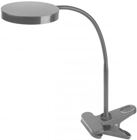 ЭРА Б0004478 Настольный светодиодный светильник NLED-435-4W-S серебристый {на прищепке, цвет. температура 3000К} светильник настольный со светодиодами эра nled 435 серебро