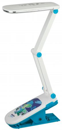 ЭРА Б0016268 Настольный светодиодный светильник NLED-424-2.5W-BU синий, дизайн Фиксики{складной, аккумулятор, 2 режима яркости, цвет. температура 3000К}