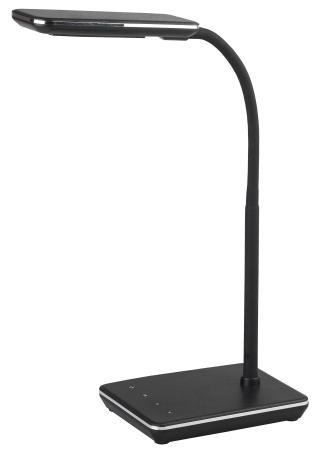 ЭРА Б0033307 Настольный светодиодный светильник NLED-464-7W-BK черный {дизайн кожа, 5 ступенчатый диммер яркости, сенсор. переключение, цвет. темп. 3000-6000К}
