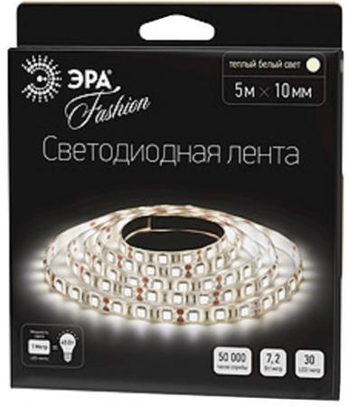 ЭРА Лента светодиодная 7,2Вт/м LS5050-30LED-IP20-WW Тёплый белый {Лента светодиодная (5м/10мм)} лента светодиодная skyway 96 диодов s03201017