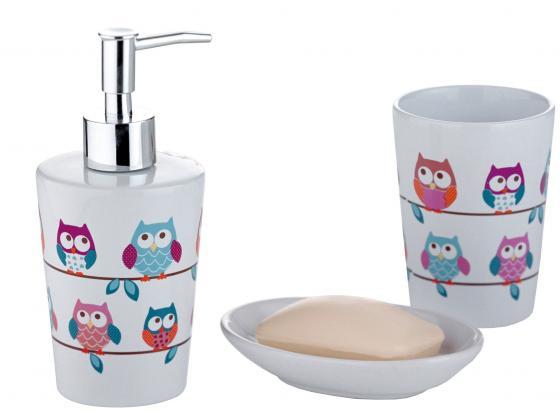 Набор для ванной комнаты AXENTIA 282469 eule совы белая керамика стакан дозатор для жидкого мыла набор для ванной комнаты axentia утята