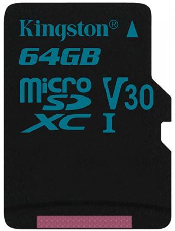 Карта памяти MicroSDXC 64GB Kingston Class UHS-I U3 V30 Canvas Go [SDCG2/64GBSP] карта памяти microsdxc 32gb kingston class uhs i u3 v30 canvas go адаптер [sdcg2 32gb]