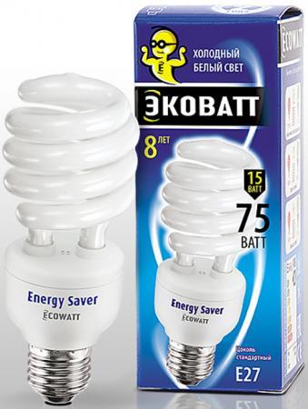Лампа энергосберегающая ECOWATT SP 15W 840 E27 холодный белый свет витая, люминисцентная 46*127мм лампа энергосберегающая e27 20w f sp 4200k дневной свет эра