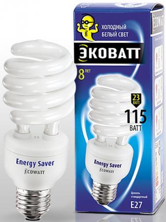 Лампа энергосберегающая ECOWATT SP 23W 840 E27 холодный белый свет витая, люминисцентная 53*145мм лампа энергосберегающая e27 20w f sp 4200k дневной свет эра