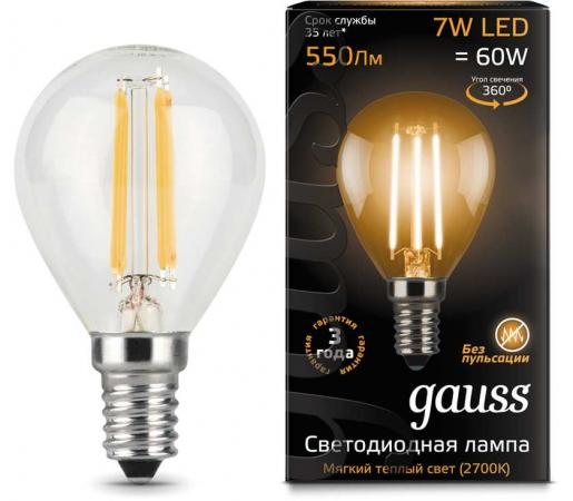 Лампа GAUSS 105801107 led filament globe e14 7w 2700k 1/10/50 gauss лампа gauss led filament candle tailed e14 9w 2700k 1 10 50