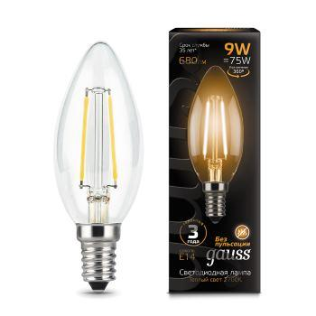 gauss лампа светодиодная gauss led filament candle e14 7w 2700к 1 10 50 103801107 Лампа GAUSS LED Filament Candle 103801109 E14 9W 2700К 1/10/50