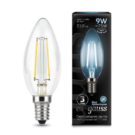 gauss лампа светодиодная gauss led filament candle e14 7w 2700к 1 10 50 103801107 Лампа GAUSS LED Filament Candle 103801209 E14 9W 4100К 1/10/50