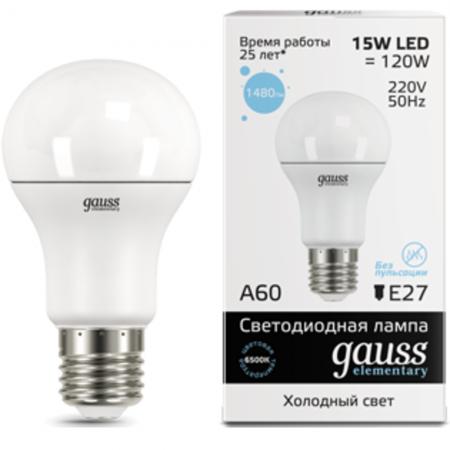 Лампа GAUSS 23235 led elementary a60 15w e27 6500k 1/10/50 недорого
