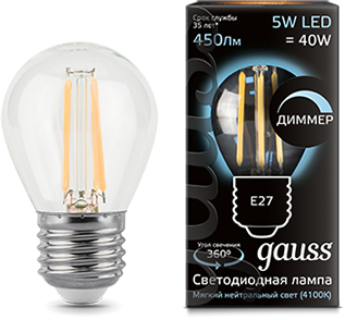 Лампа GAUSS 105802205-D led filament globe dimmable e27 5w 4100k 1/10/50