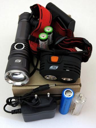 Фонарь набор Solaris Kit FZ-50/M40 чёрный usb перезаряжаемый высокой яркости ударопрочный фонарик дальнего света конвой sos факел мощный самозащита 18650 батареи