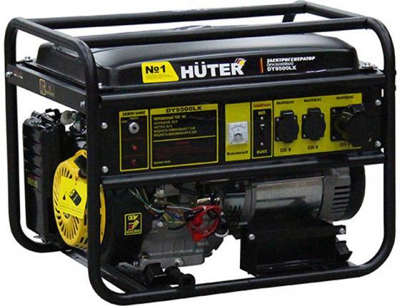 Huter DY9500LX 64/1/40 { четырехтактный, 7500Вт, 220В/50Гц, 91Дб, принудительное охлаждение, бак 25 л, расход бензина 374 г/кВтч, расход масла 6,8 г/кВтч, электростартер }