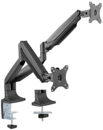 Кронштейн для 2 мониторов ONKRON/ 13-32'' ГАЗЛИФТ макс 100*100 наклон -90?/+90?, поворот +-90°, 2 колена, вылет от стены до 525мм, крепление к столу 10-85мм, макс общий вес 9кг, черный цена