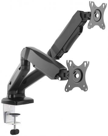 Купить Кронштейн для 2 мониторов ONKRON/ 13-32'' ГАЗЛИФТ макс 100*100 наклон -90?/+90?, поворот +-90°, 2 колена, вылет от стены до 450мм, крепление к столу 10-83мм, макс общий вес 6, 5кг, черный