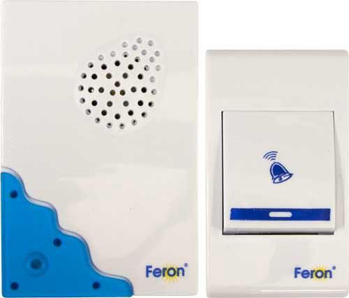 Звонок электрический дверной FERON 23679 32 мелодии, белый, синий, E-223 звонок дверной feron e 374 white blue 44164