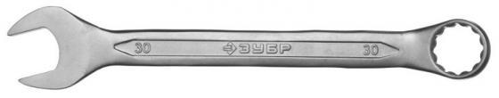 Ключ ЗУБР 27087-30 МАСТЕР гаечный комбинированный, Cr-V сталь, хромированный, 30мм
