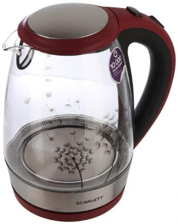 Чайник электрический Scarlett SC-EK27G49 1.8л. 2200Вт красный/черный чайник электрический scarlett sc ek18p15 красный