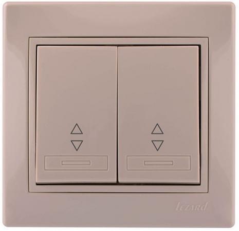 Выключатель LEZARD 701-0303-106 серия скр.проводки Мира проходной двойной кремовый со вст.