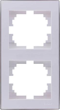 Рамка LEZARD 703-0226-152 серия Рейн 2-ая вертикальная белый с золотой вставкой