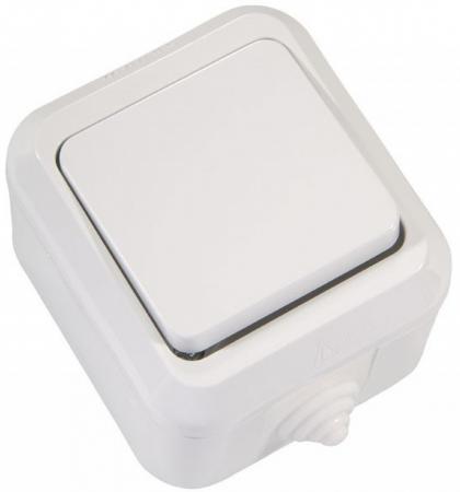 Выключатель MAKEL Nemliyer открытой установки 1-клавишный влагозащищенный, белый, IP44 (18300) цена