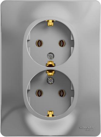 Розетка SCHNEIDER ELECTRIC GLOSSA 1063738 двойная с заземлением. 16А. в сборе. АЛЮМИНИЙ