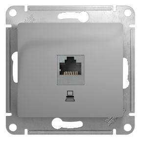 Розетка SCHNEIDER ELECTRIC GLOSSA 1063757 компьютерная RJ45 кат.5E. механизм. АЛЮМИНИЙ розетка 1 пост комп rj45 schneider electric glossa кат 5 алюминий