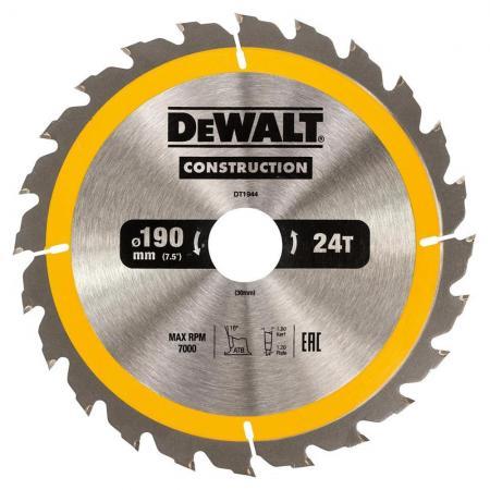 Круг пильный твердосплавный DEWALT DT1944-QZ Ф190/30 24 ATB +10° CONSTRUCTION по дереву с гвоздями пильный диск construct 216х30 мм 24 atb dewalt dt1952