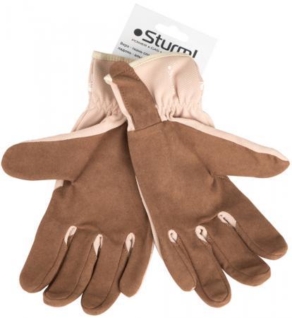 Перчатки STURM! 8054-01-L раб. жен. спандекс алькантара цвет коричн-беж. с рис. цветка р. L перчатки рабочие кожа спандекс l
