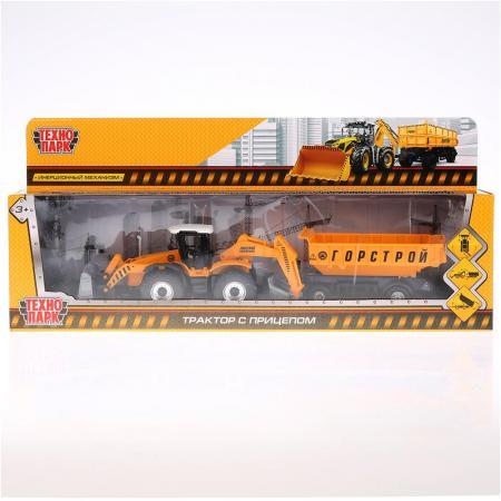 Трактор Технопарк ТРАКТОР С ПРИЦЕПОМ 28.5 см оранжевый 158A2-R трактор с прицепом dickie fendt 41 см