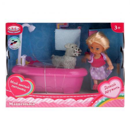 Кукла, ТМ Карапуз, Машенька 12см, в наборе ванна с душем, питомец, аксесс. в русс. кор. в кор.2*24шт расческа щетка для кошек ferplast двойная маленькая gro 5798