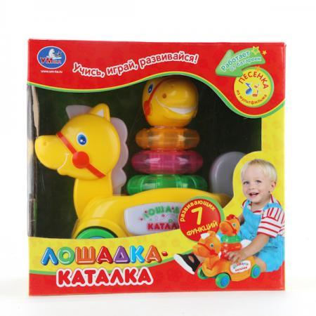 цена на Каталка Умка КАТАЛКА-ЛОШАДКА пластик от 6 месяцев на колесах желтый B876678-R