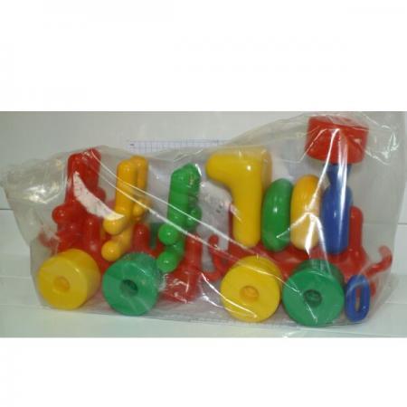 Каталка Пластмасса-Детство (СВСД) ЛОКОМОТИВ С ЗАЙЦАМИ пластик от 3 лет на колесах разноцветный 5023С детство лидера