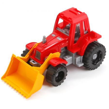 Трактор Нордпласт ИЖОРА С ГРЕЙДЕРОМ красный 151 машинка игрушечная нордпласт трактор ангара с грейдером и ковшом