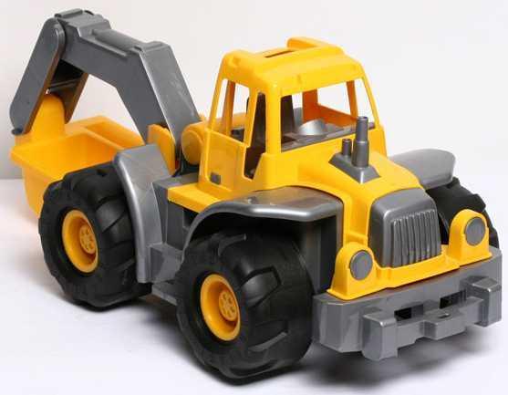 Трактор Нордпласт БОГАТЫРЬ С КОВШОМ желтый 098 спортивные товары нордпласт детские салазки желтый