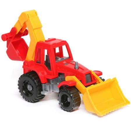 Трактор Нордпласт ИЖОРА С ГРЕЙДЕРОМ И КОВШОМ красный 152 машинка игрушечная нордпласт трактор ангара с грейдером и ковшом