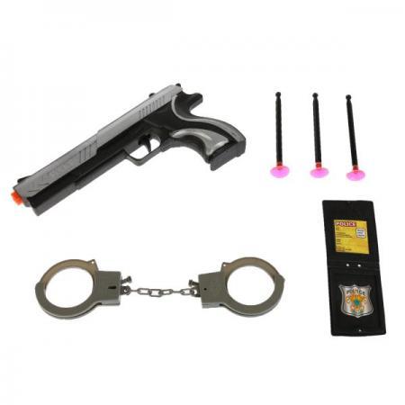 НАБОР ПОЛИЦИЯ (ПИСТОЛЕТ С ПРИСОСКАМИ + НАРУЧНИКИ + ЖЕТОН) В ПАК. в кор.2*144шт пистолет shantou gepai пистолет с присосками наручники черный b1421535