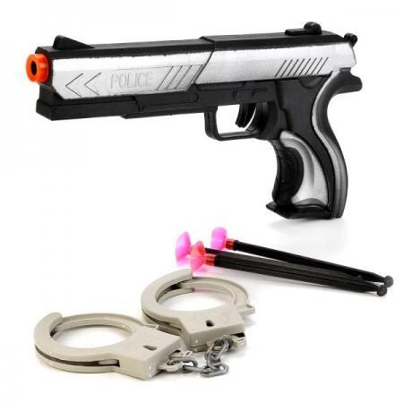 Фото - НАБОР ПОЛИЦИЯ (ПИСТОЛЕТ С ПРИСОСКАМИ, НАРУЧНИКИ) В ПАК. 24*3*12,5СМ в кор.2*180шт игр набор полиция пистолет стрелы с присосками 3шт наручники ключи граната 2шт фигурка паке