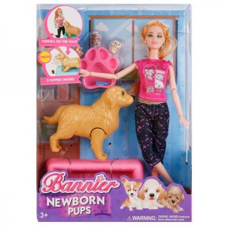 Кукла Shantou КУКЛА С СОБАКОЙ И 3-МЯ ЩЕНКАМИ 29 см B1699463