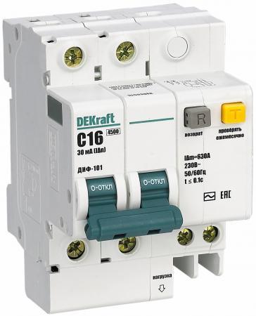 Выключатель DEKRAFT 15007DEK авт. диф. тока 2п 6мод. c 40a 30ma тип ac 4.5ka ДИФ-101