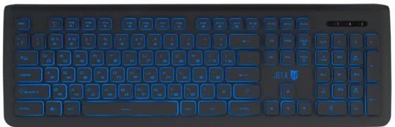 Проводная слим-клавиатура Jet.A SlimLine K20 LED с классической раскладкой и синей светодиодной подсветкой, 105 клавиш, USB, тёмно-серая цена