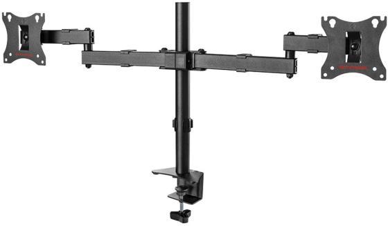 цена на Кронштейн для мониторов Arm Media LCD-T04 black для 2-х 15-28, max 2х7 кг, 6 ст свободы, наклон ±10°, поворот ±90°, выс. штан. 358 мм, VESA100x100мм