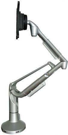 Кронштейн для мониторов Kromax OFFICE-S1 silver, 15-32, max 1,5-11 кг. 5 ст св., нак. ±25°, пов. ±90°, max VESA 100x100 мм.