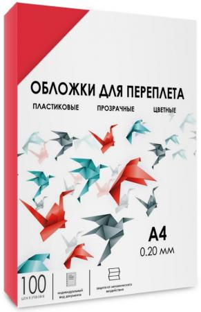 цена на Обложки для переплета прозрачные пластиковые ГЕЛЕОС А4, 0.2 мм, красные, 100 шт. PCA4-200R